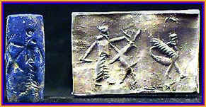Mesopotamian lapis seal with scorpion-guard impression.